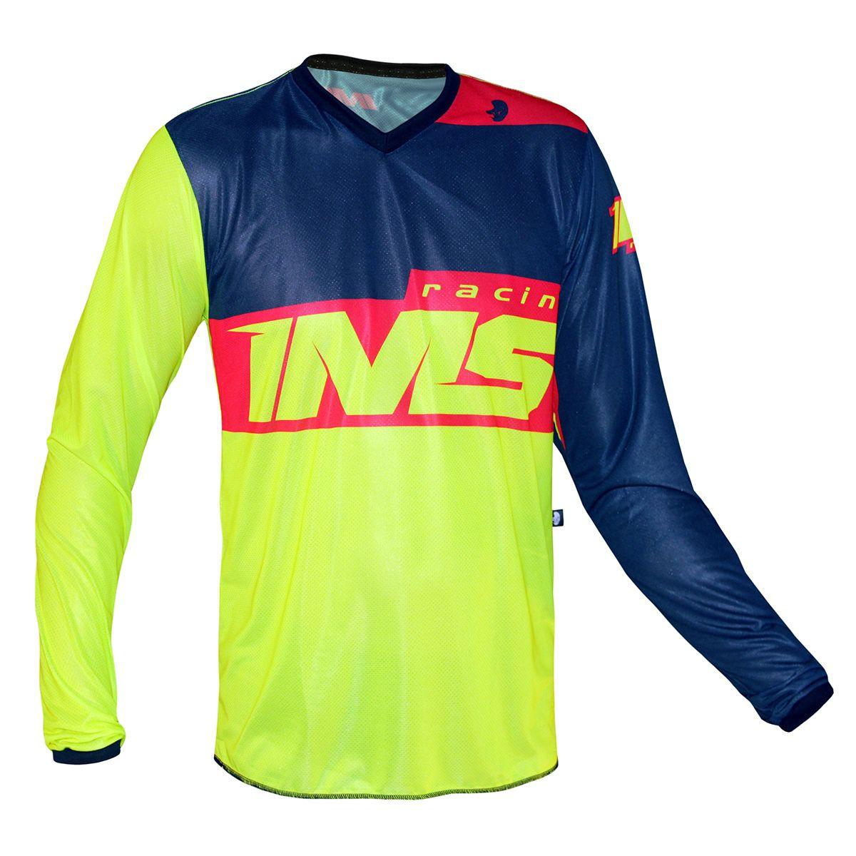Camisa Ims Army Vermelho Fluor Motocross Trilha