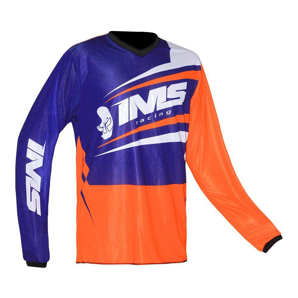 Camisa Ims Flex Laranja / Azul P/ Trilha Motocross Bikes