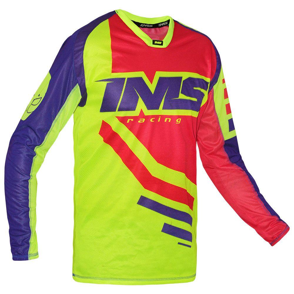 Camisa Ims Sprint Azul Royal / Vermelha / Amarelo Fluor P/ Trilha Motocross Biker