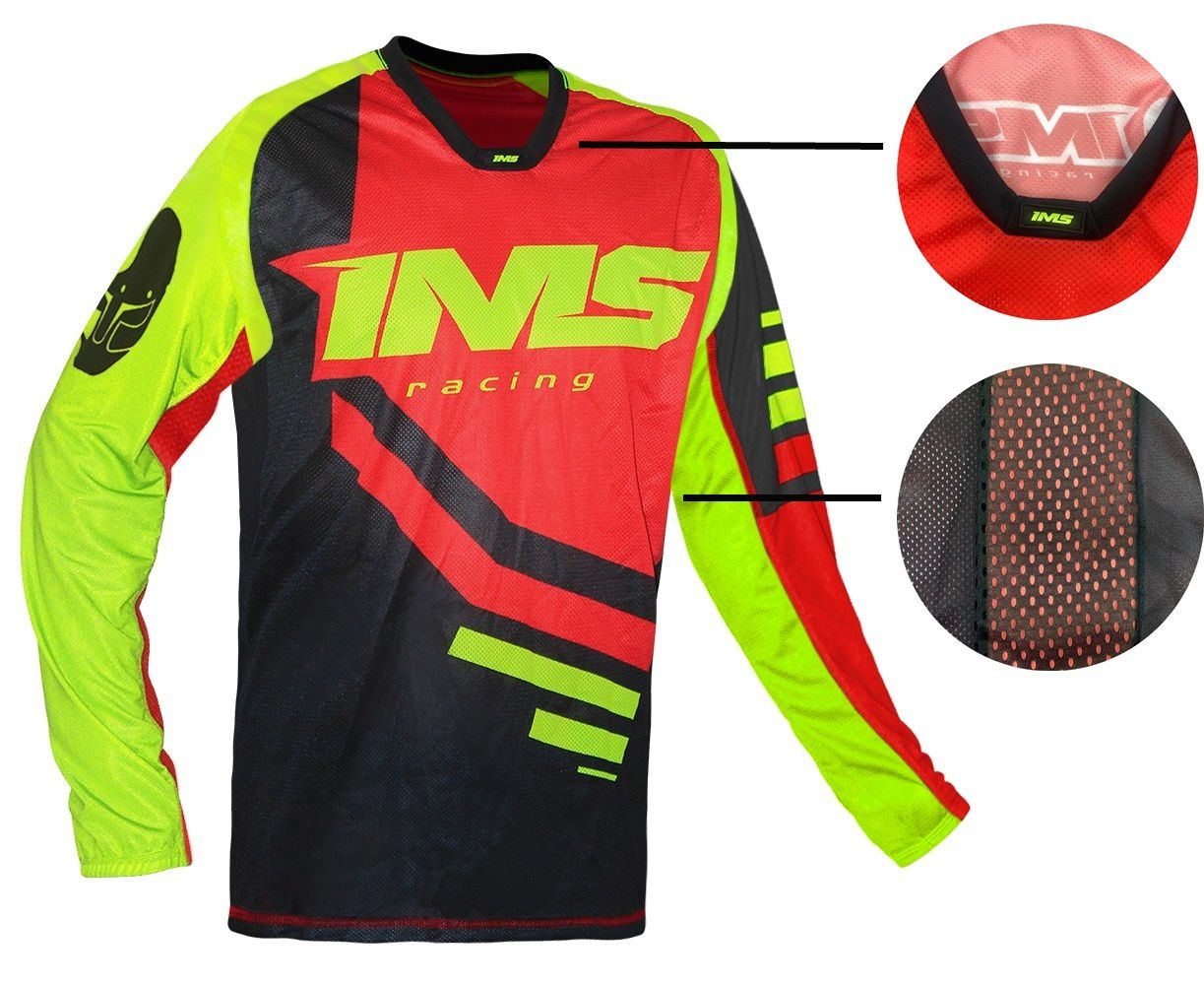 Camisa Ims Sprint Vermelha / Preta / Amarelo Fluor P/ Motocross Trilha Biker