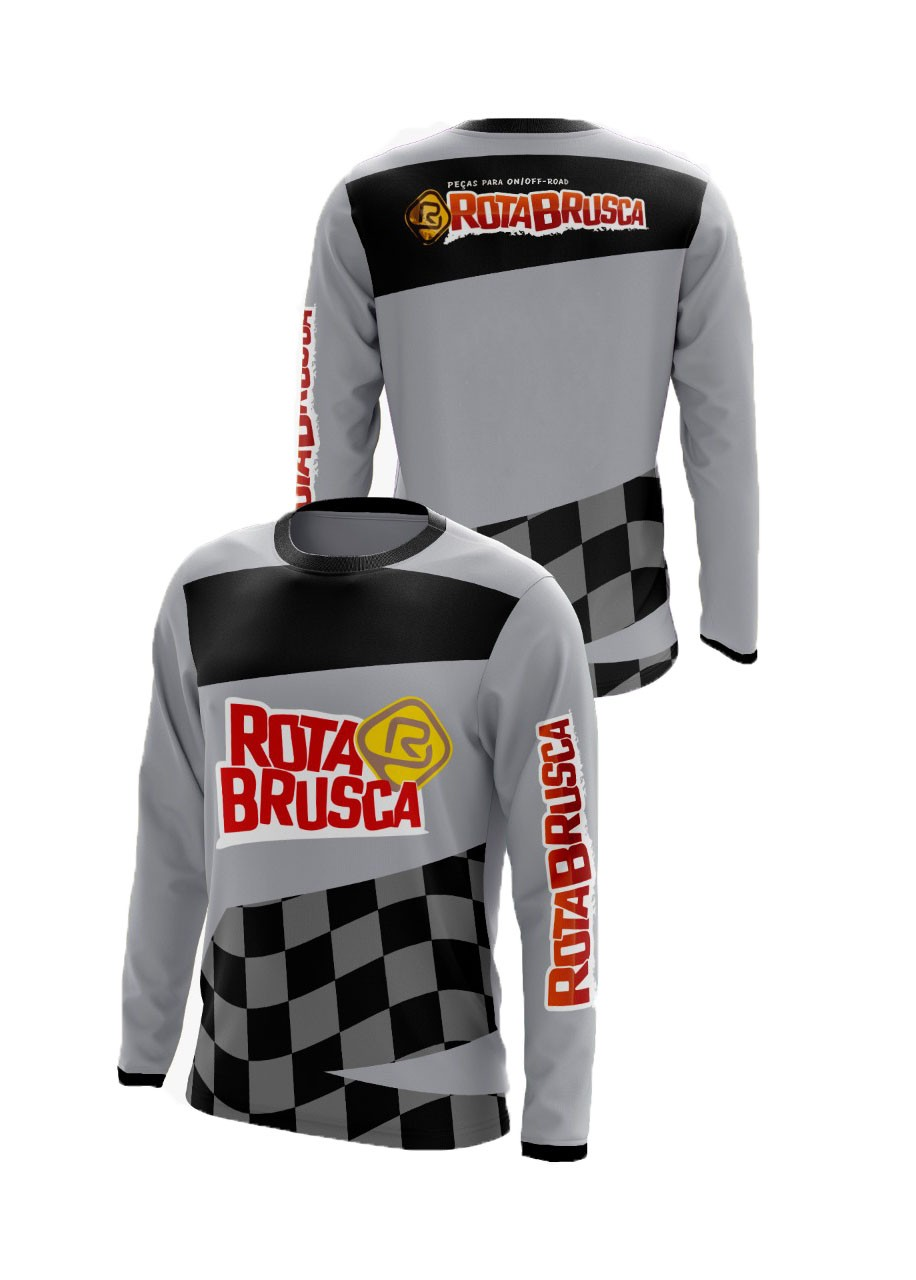Camisa Infantil Rota Brusca Motocross Trilha Cinza
