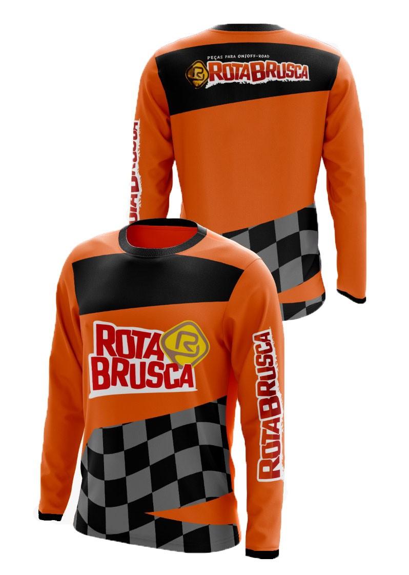 Camisa Infantil Rota Brusca Motocross Trilha Laranja