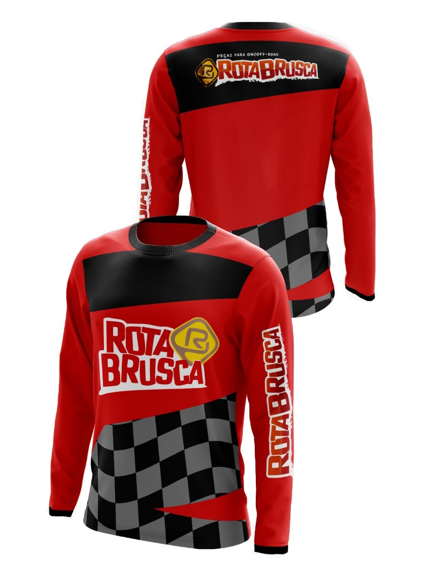 Camisa Infantil Rota Brusca Motocross Trilha Vermelha