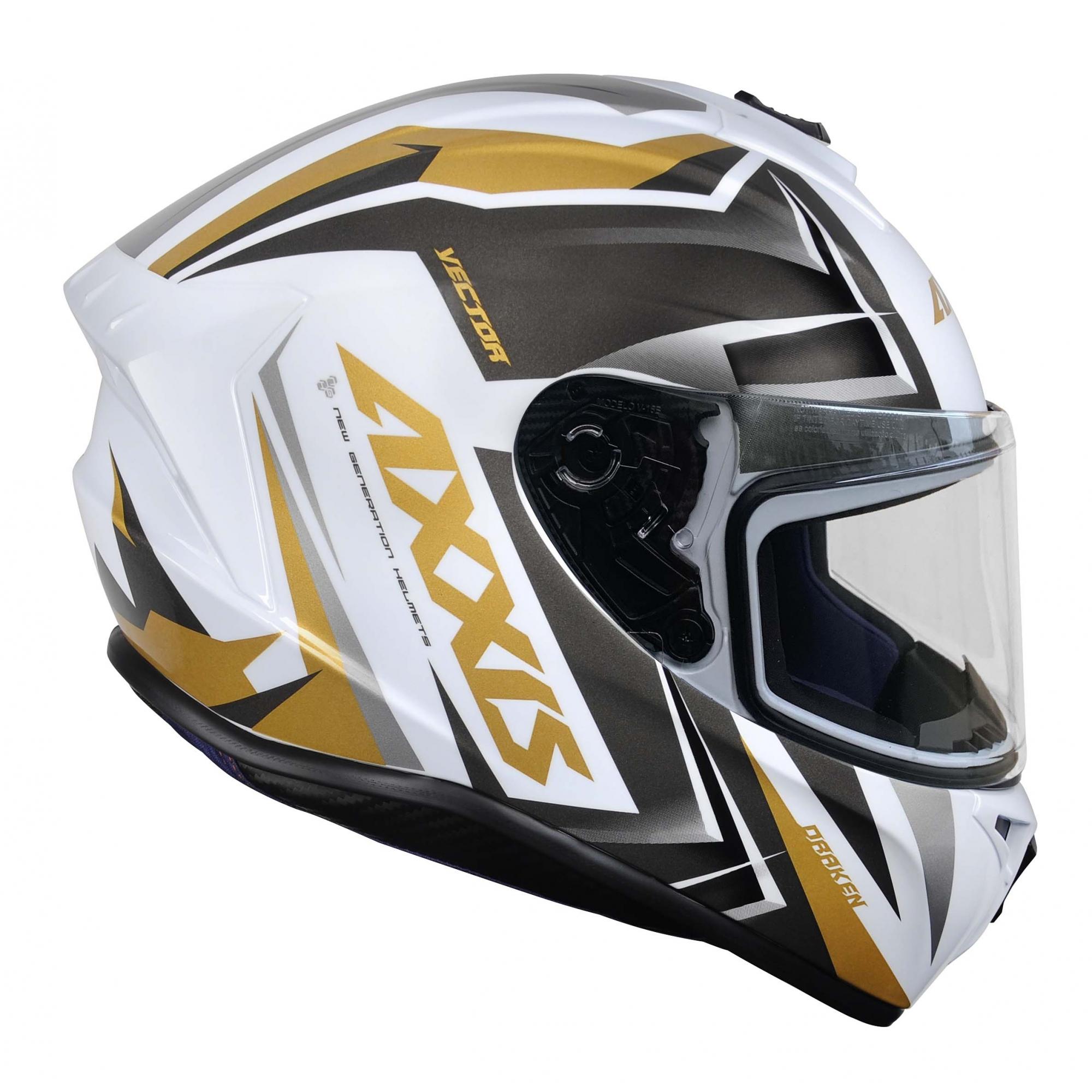 Capacete Axxis Draken Vector Gloss Branco Ouro