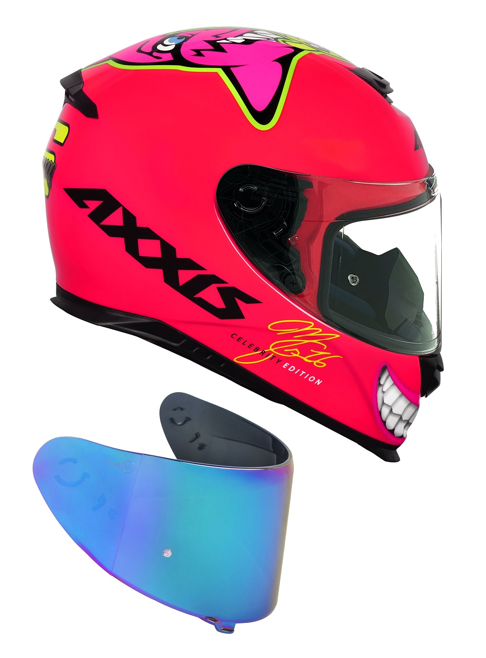 Capacete Axxis Mg16 Celebrity Edition Marianny Gloss Pink Com Viseira Azul