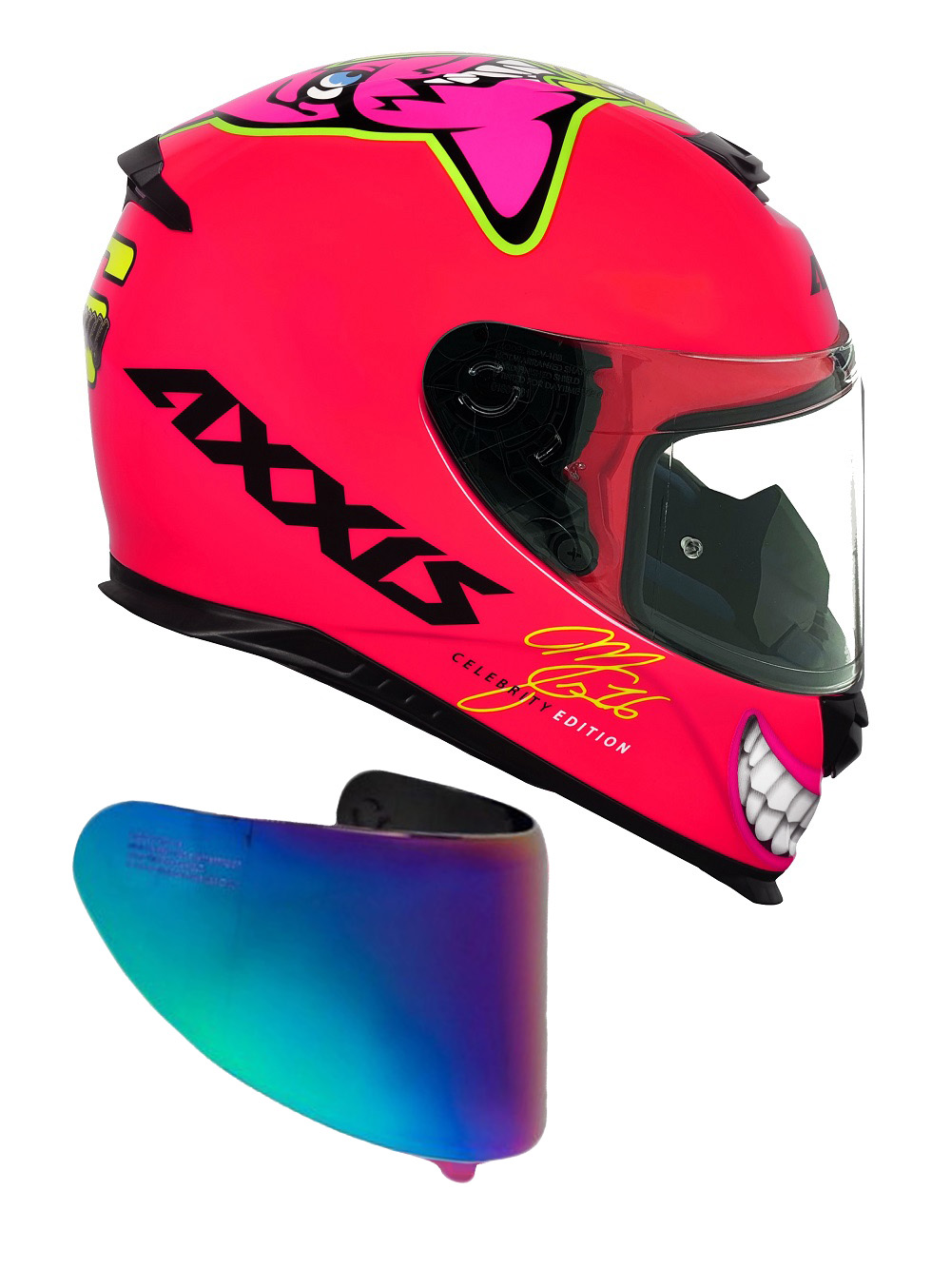 Capacete Axxis Mg16 Celebrity Edition Marianny Gloss Pink Com Viseira Camaleão