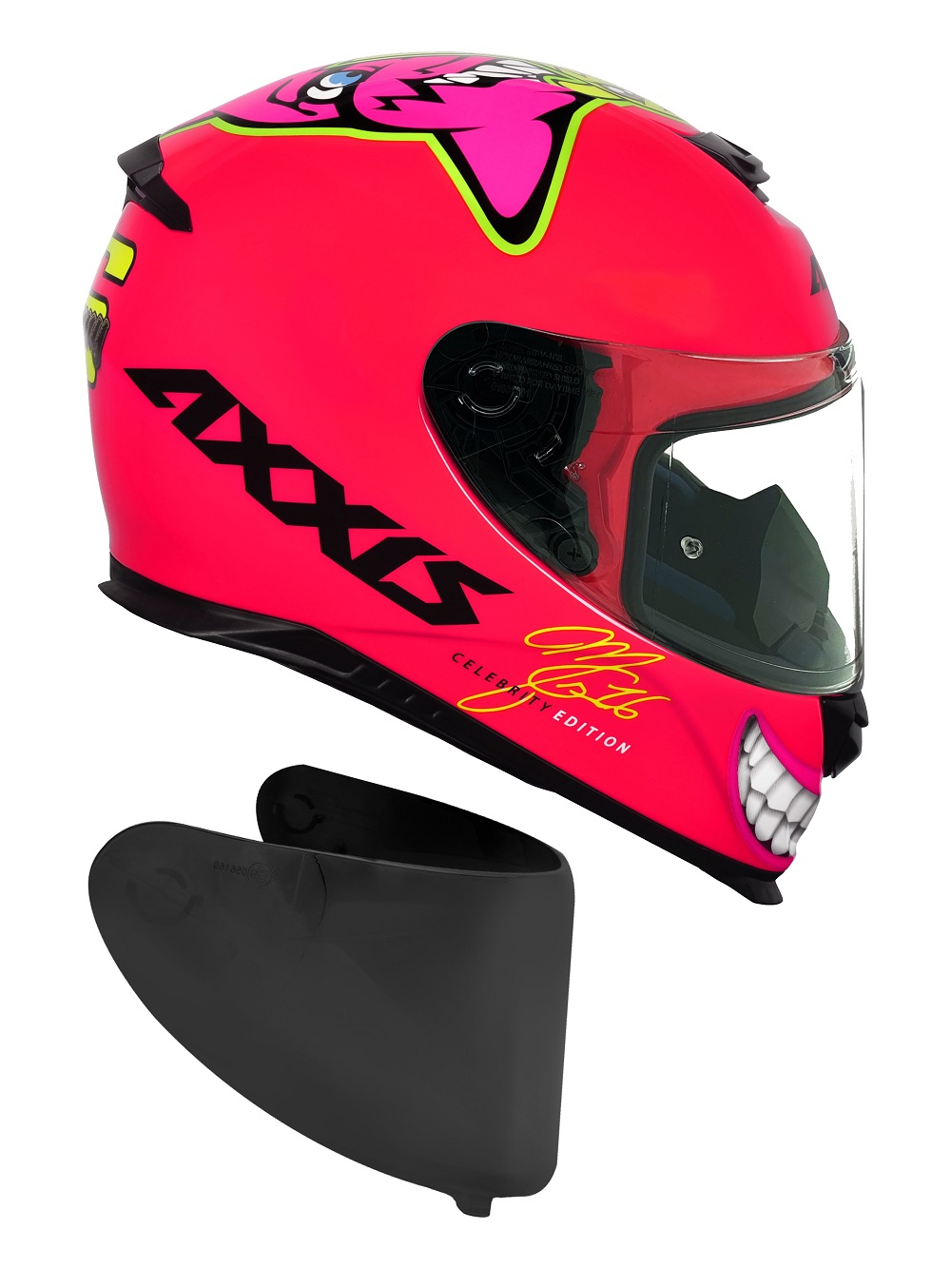Capacete Axxis Mg16 Celebrity Edition Marianny Gloss Pink Com Viseira Fumê