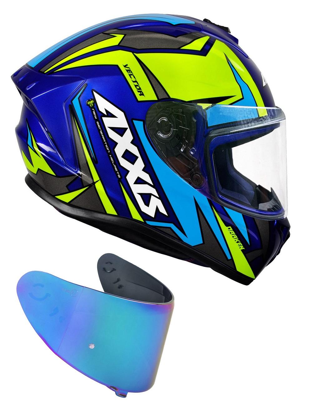 Capacete Axxis Vector Gloss Blue Yellow Com Viseira Azul