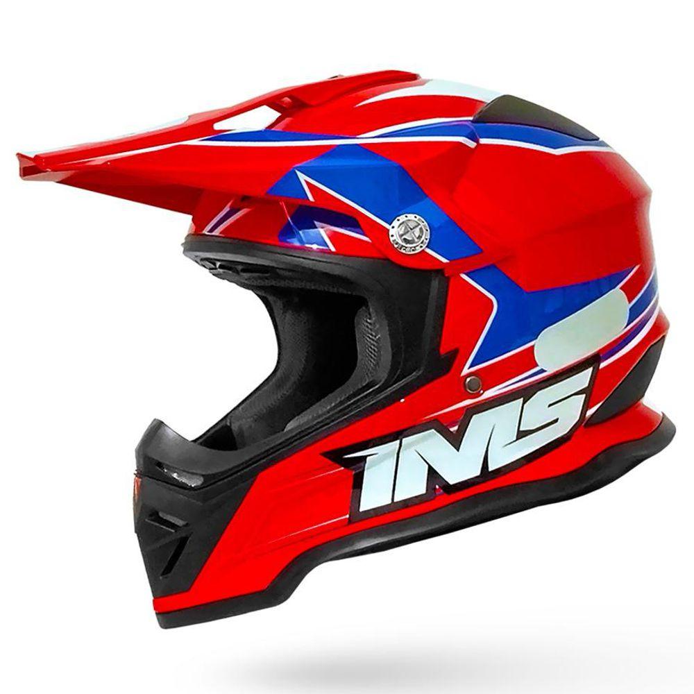 Capacete Ims Army Vermelho Azul Trilha Motocross