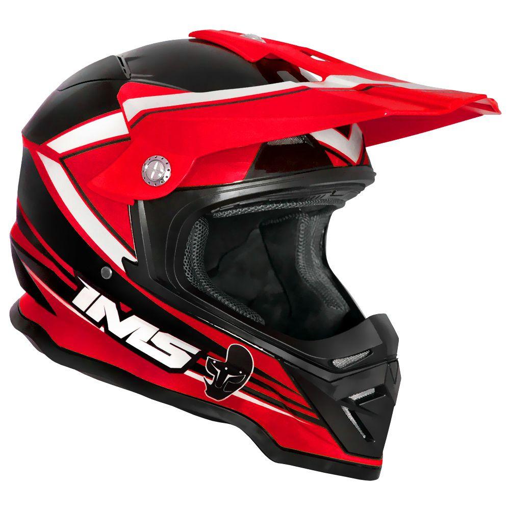 Capacete Ims Light Vermelho Preto Motocross Trilha Enduro