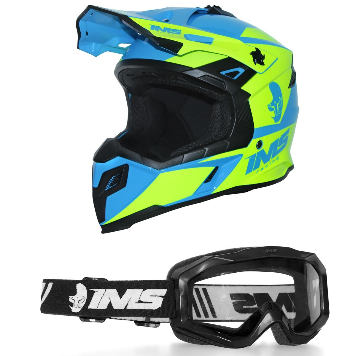 Capacete Ims Sprint Neon Azul Com Óculos Preto