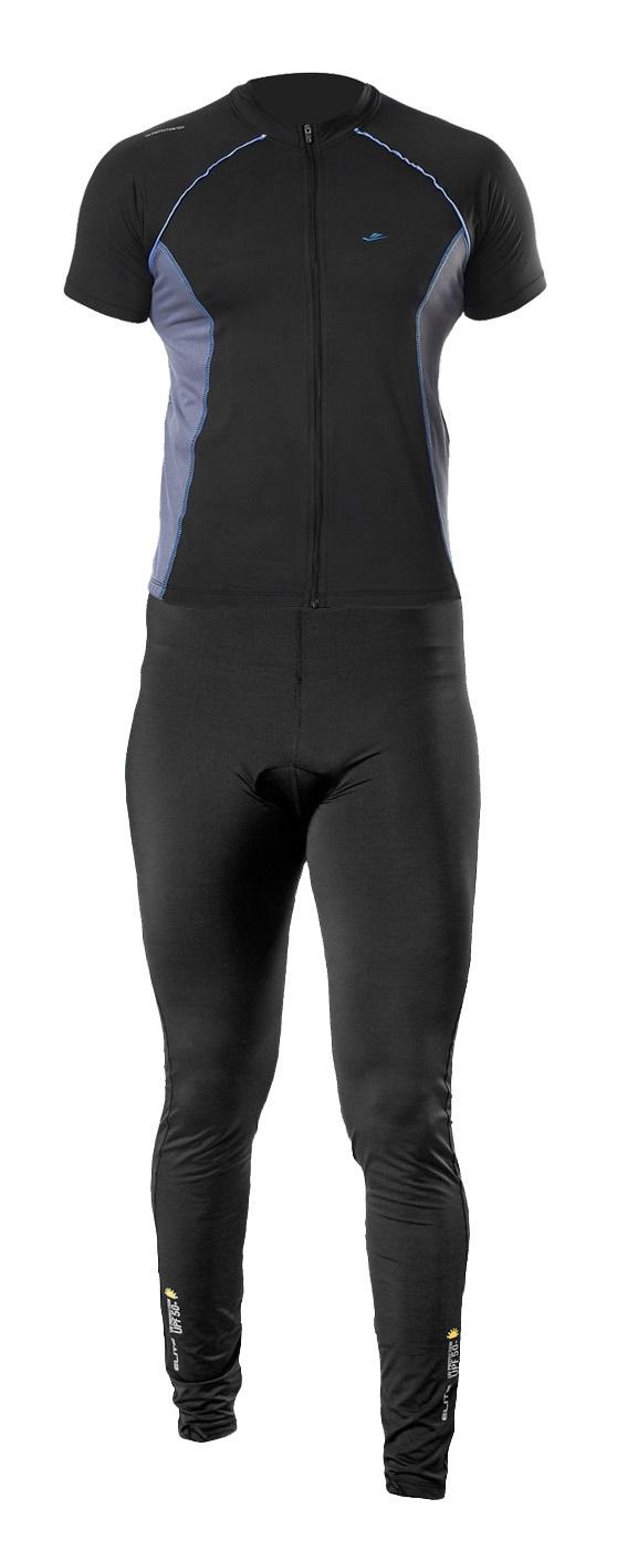 Conjunto Camisa Calça Elite Preto Cinza Ciclismo