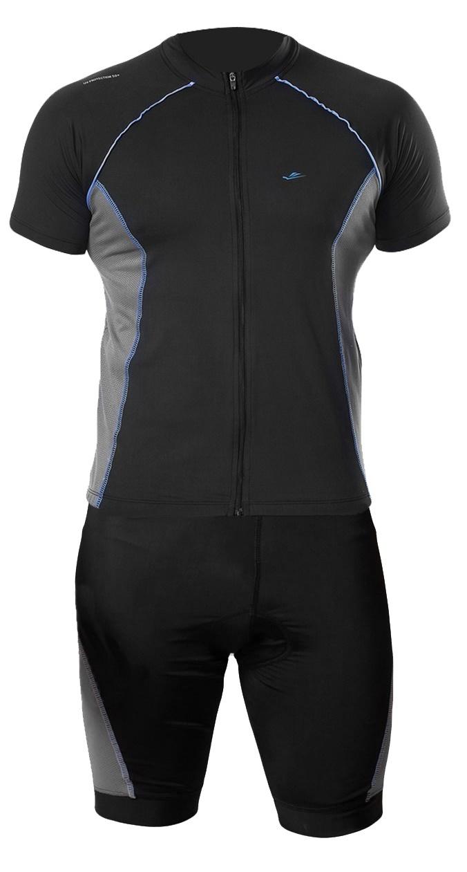 Conjunto Elite Bermuda Short Camisa Preto Cinza Ciclismo