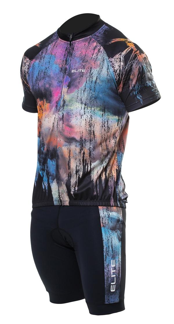 Conjunto Elite Bermuda Short Camisa Preto Colorido Ciclismo