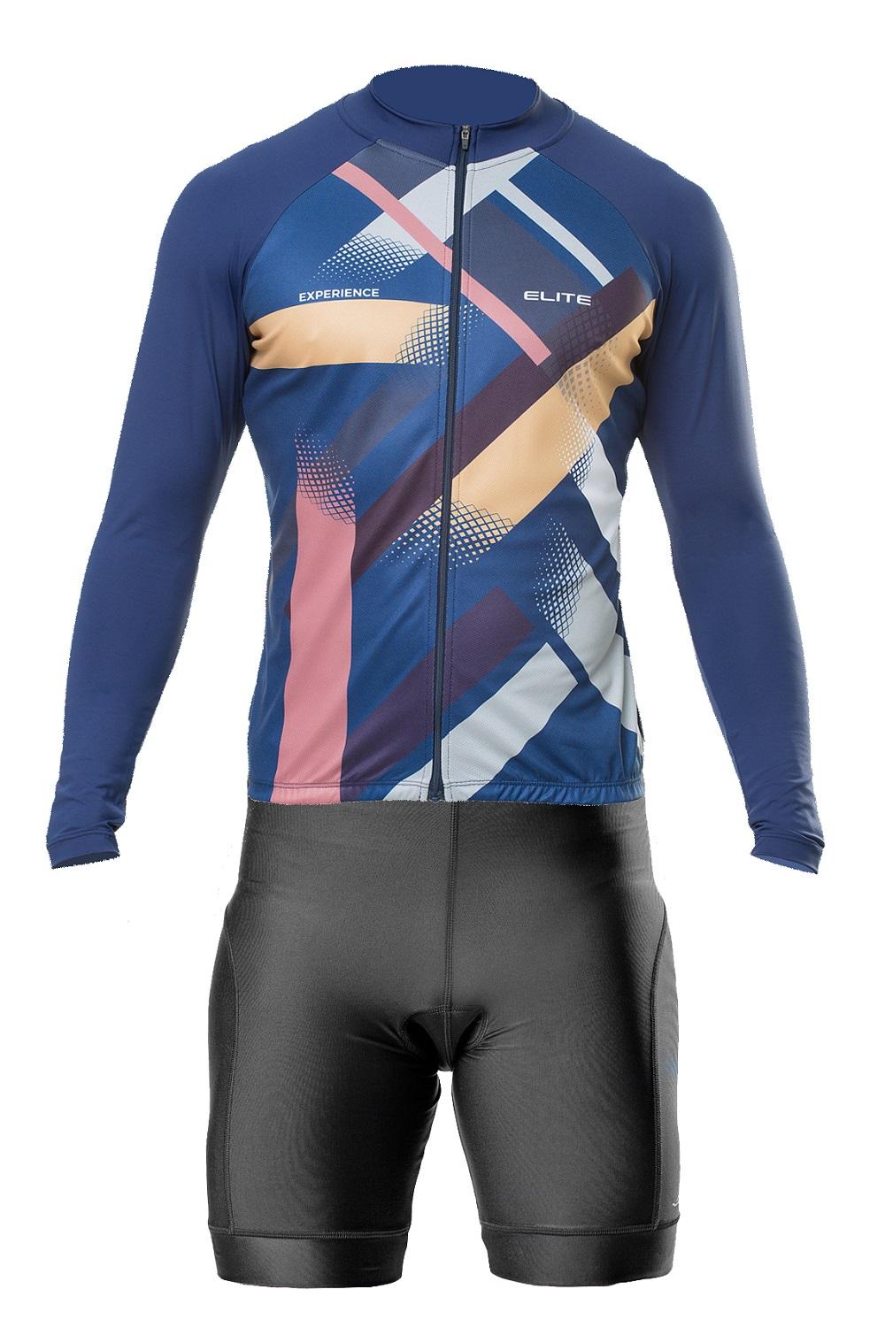 Conjunto Elite Bermuda Short Preto Camisa Manga Marinho Ciclismo