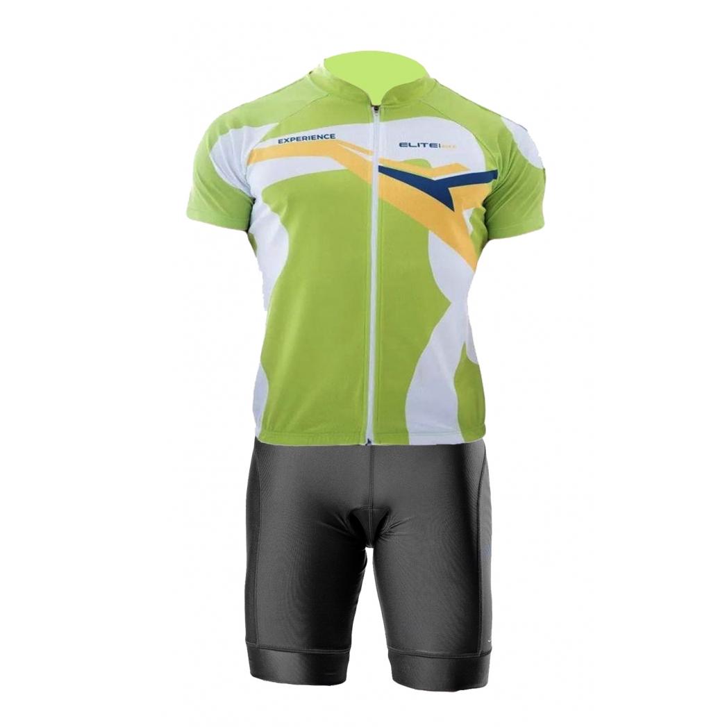 Conjunto Elite Bermuda Short Preto Camisa Verde Ciclismo