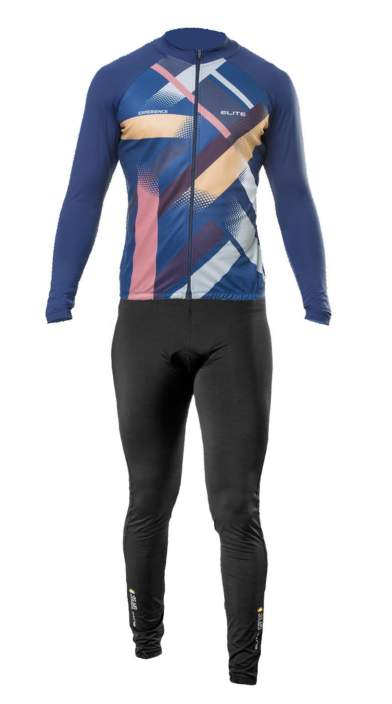 Conjunto Elite Calça Preto Camisa Manga Longa Marinho Ciclismo