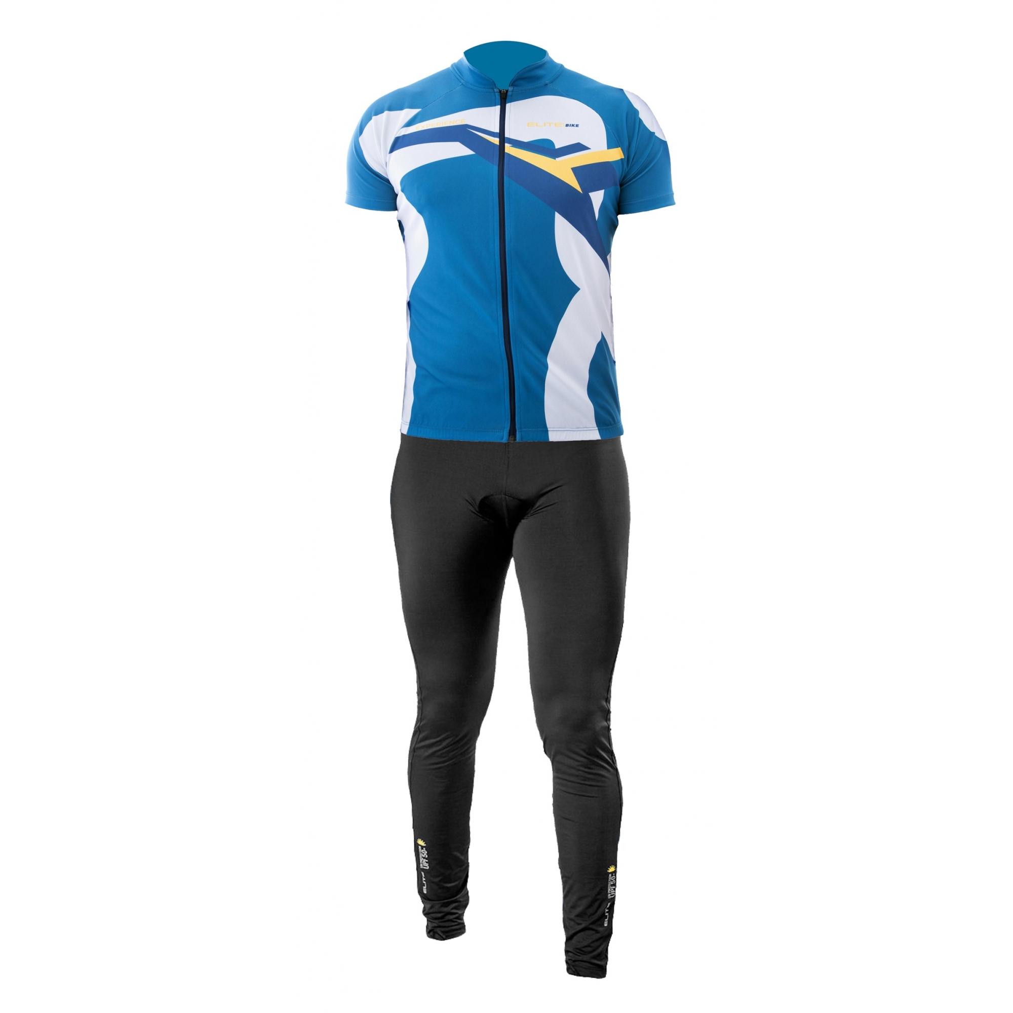 Conjunto Elite Camisa Azul Calça Top Preto Ciclismo