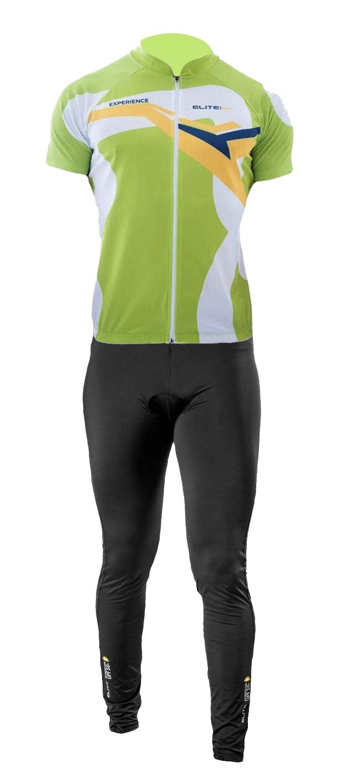 Conjunto Elite Camisa Verde Calça Top Preto Ciclismo