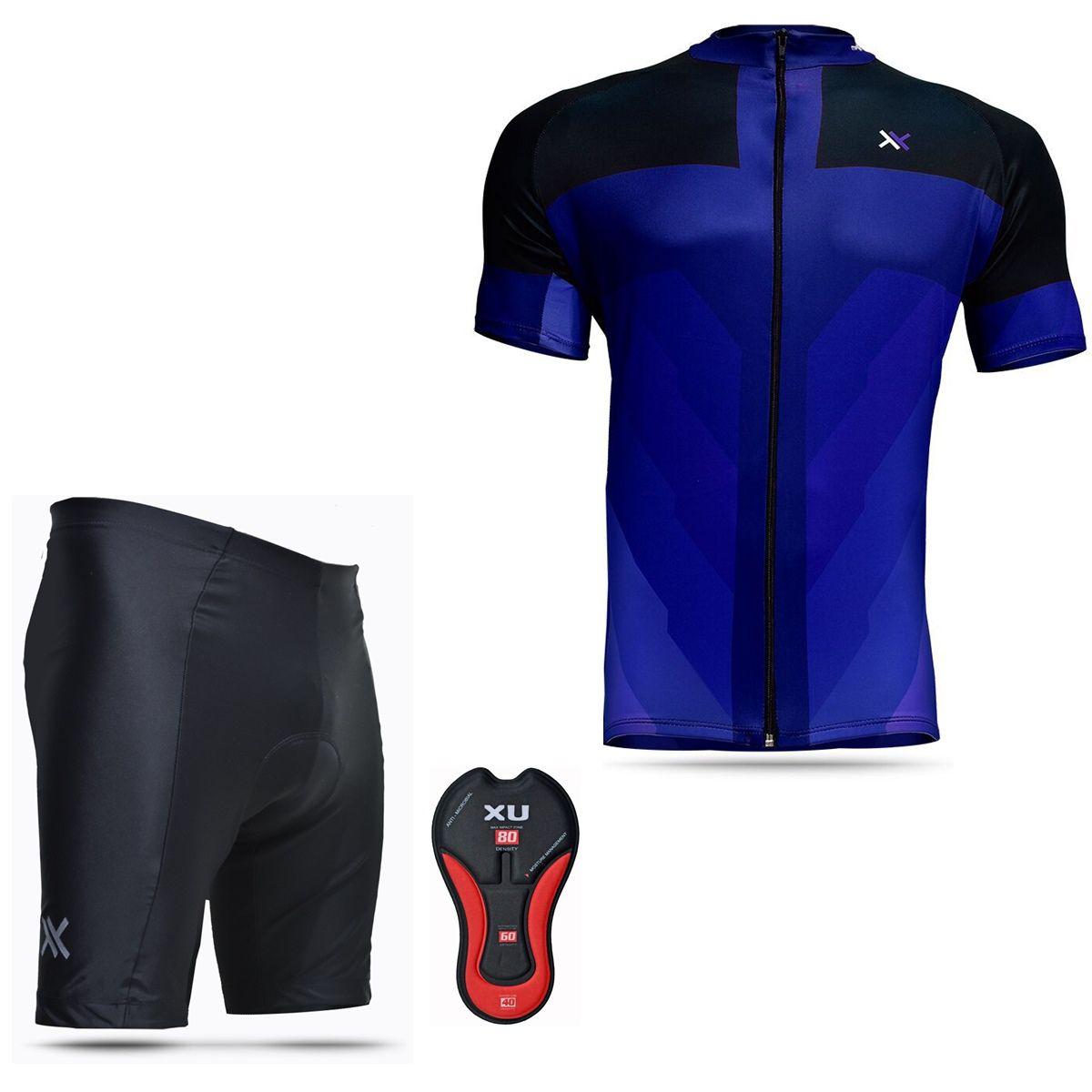 Conjunto Mattos Bermuda Short Camisa Azul Ciclismo