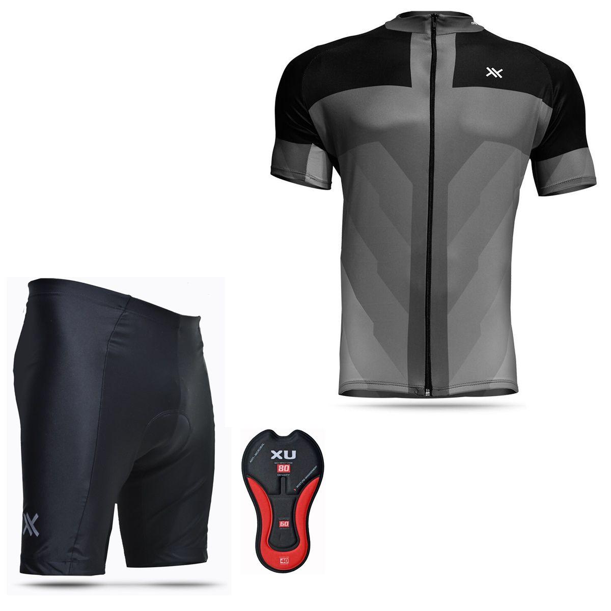 Conjunto Mattos Bermuda Short Camisa Cinza Ciclismo