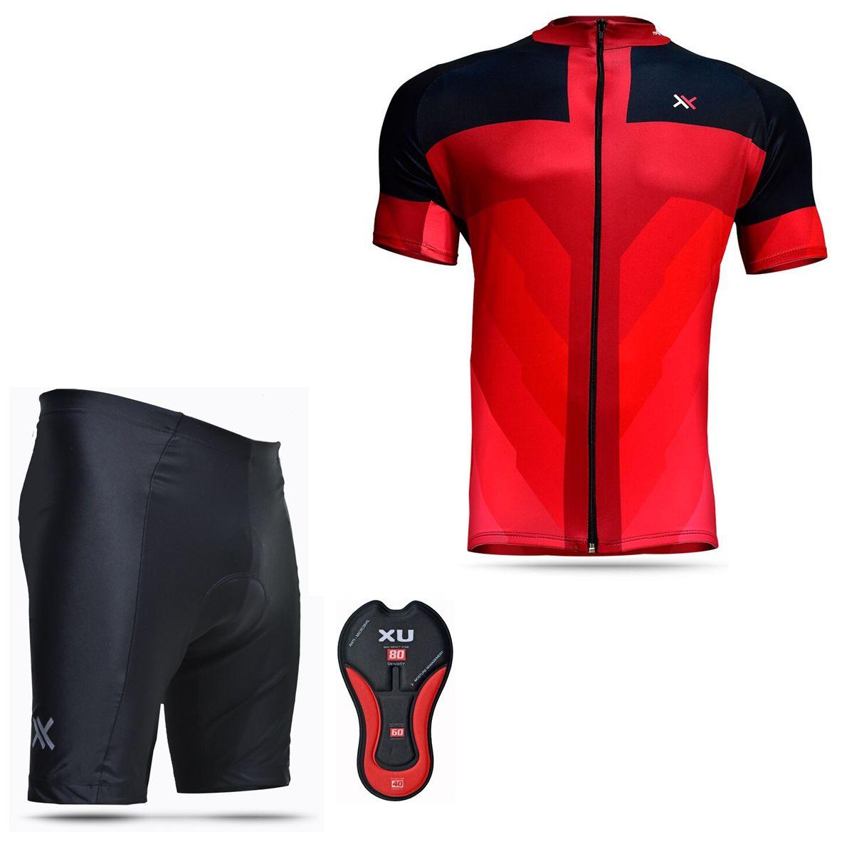 Conjunto Mattos Bermuda Short Camisa Vermelho Ciclismo