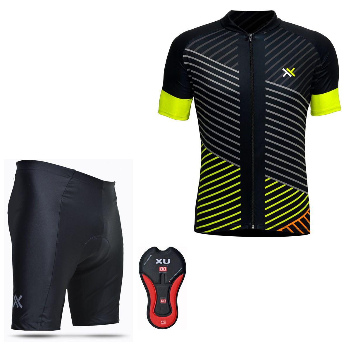 Conjunto Mattos Lines Bermuda Camisa Amarelo Ciclismo