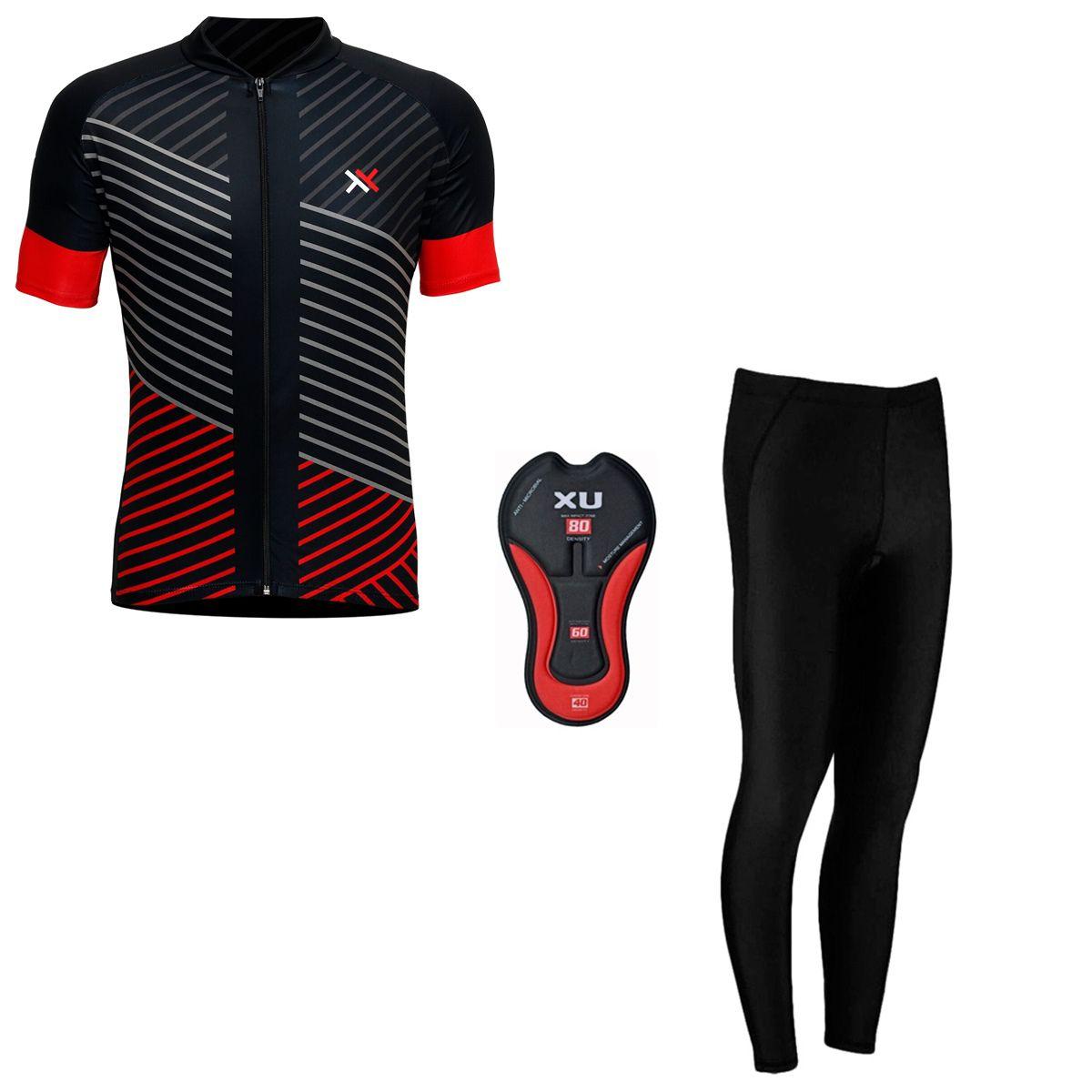 Conjunto Mattos Lines Calça Camisa Vermelho Ciclismo
