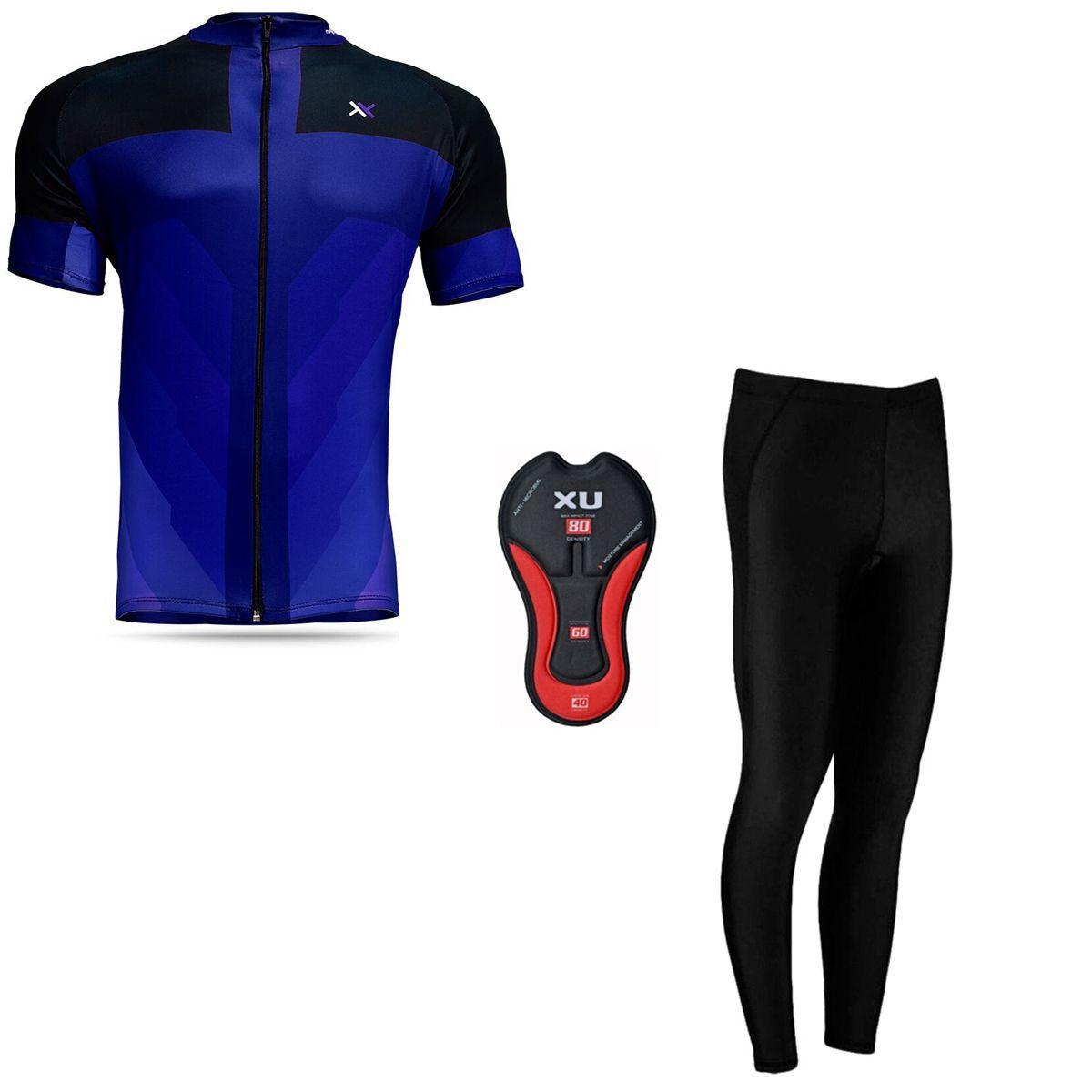 Conjunto Mattos Sprint Calça Camisa Azul Ciclismo