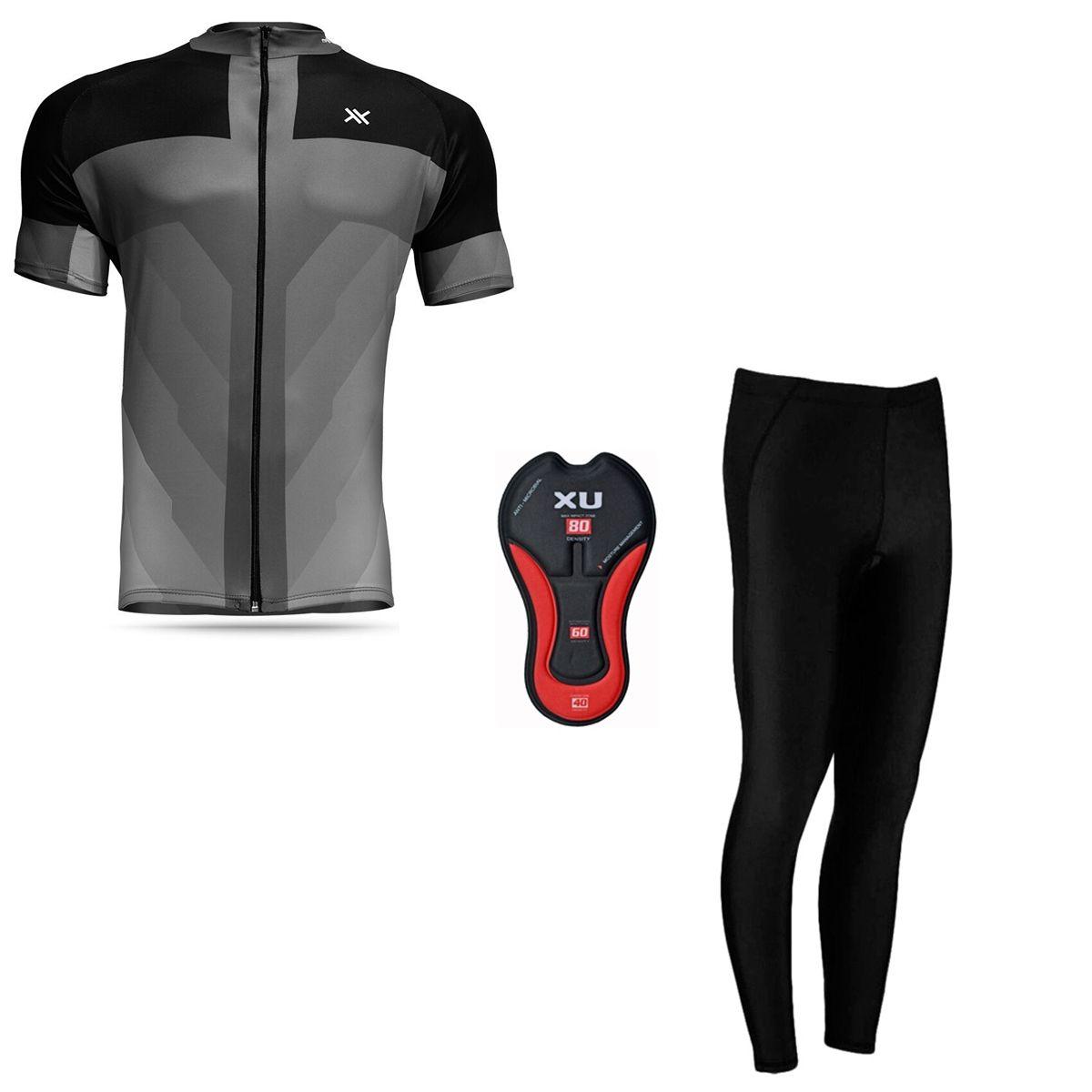 Conjunto Mattos Sprint Calça Camisa Cinza Ciclismo