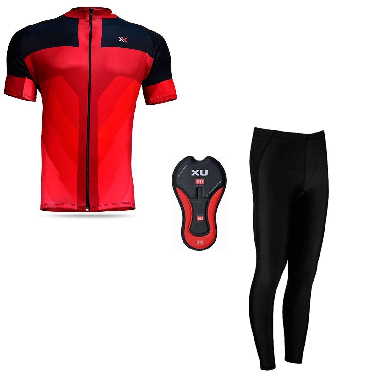 Conjunto Mattos Sprint Calça Camisa Vermelho Ciclismo