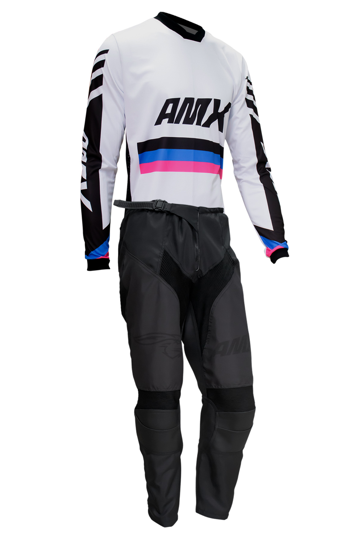 Conjunto Roupa Amx Cross One Branco Preto Calça Camisa Trilha Motocross