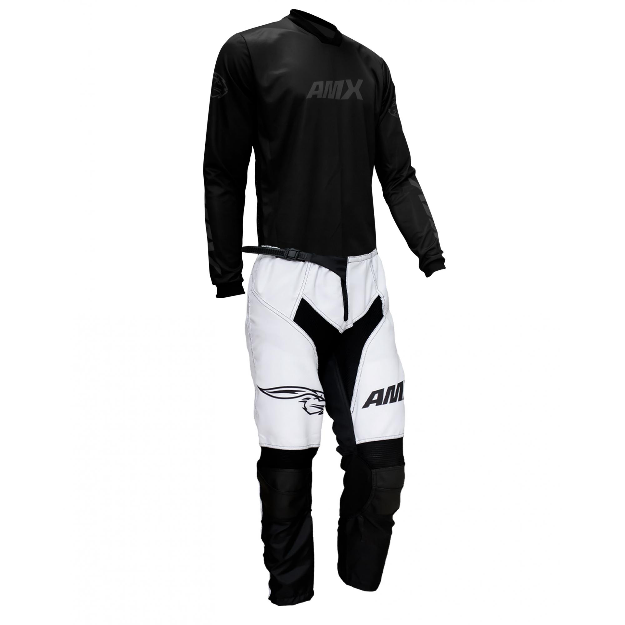 Conjunto Roupa Amx Cross One Preto Branco Calça Camisa Trilha Motocross