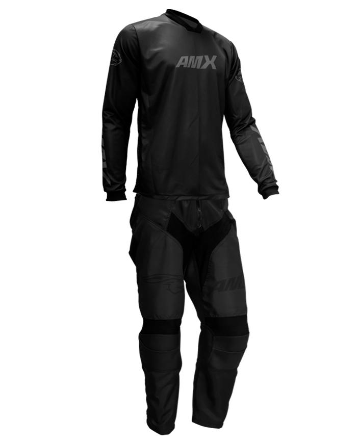 Conjunto Roupa Amx Cross Preto Calça Camisa Trilha Motocross