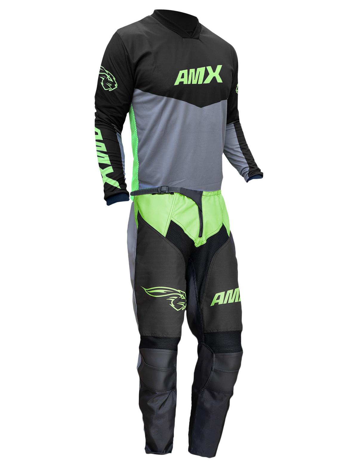 Conjunto Roupa Amx Cross Preto Neon Calça Camisa Trilha Motocross