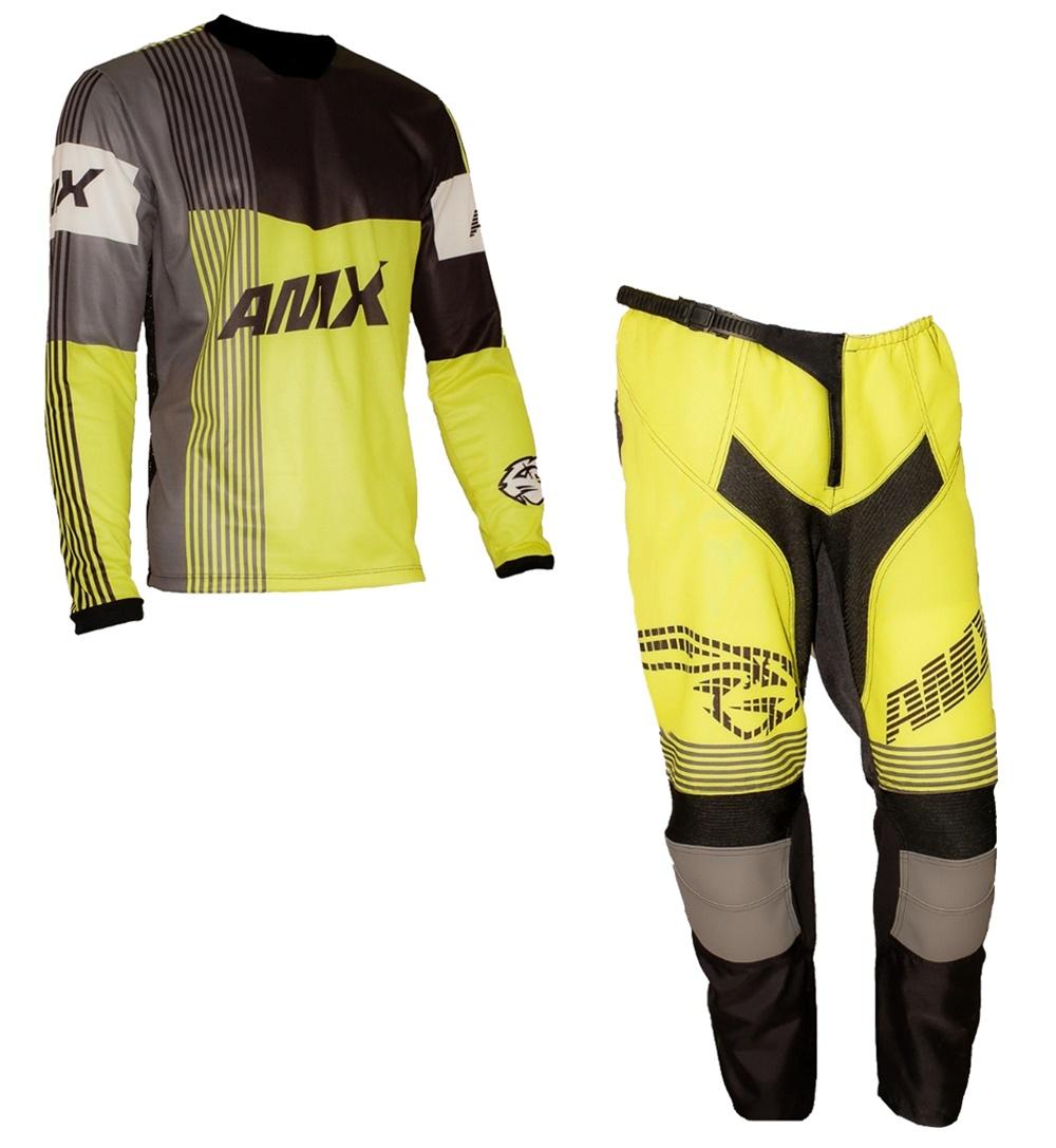 Conjunto Roupa Amx Prime Amarelo Preto Trilha Motocross