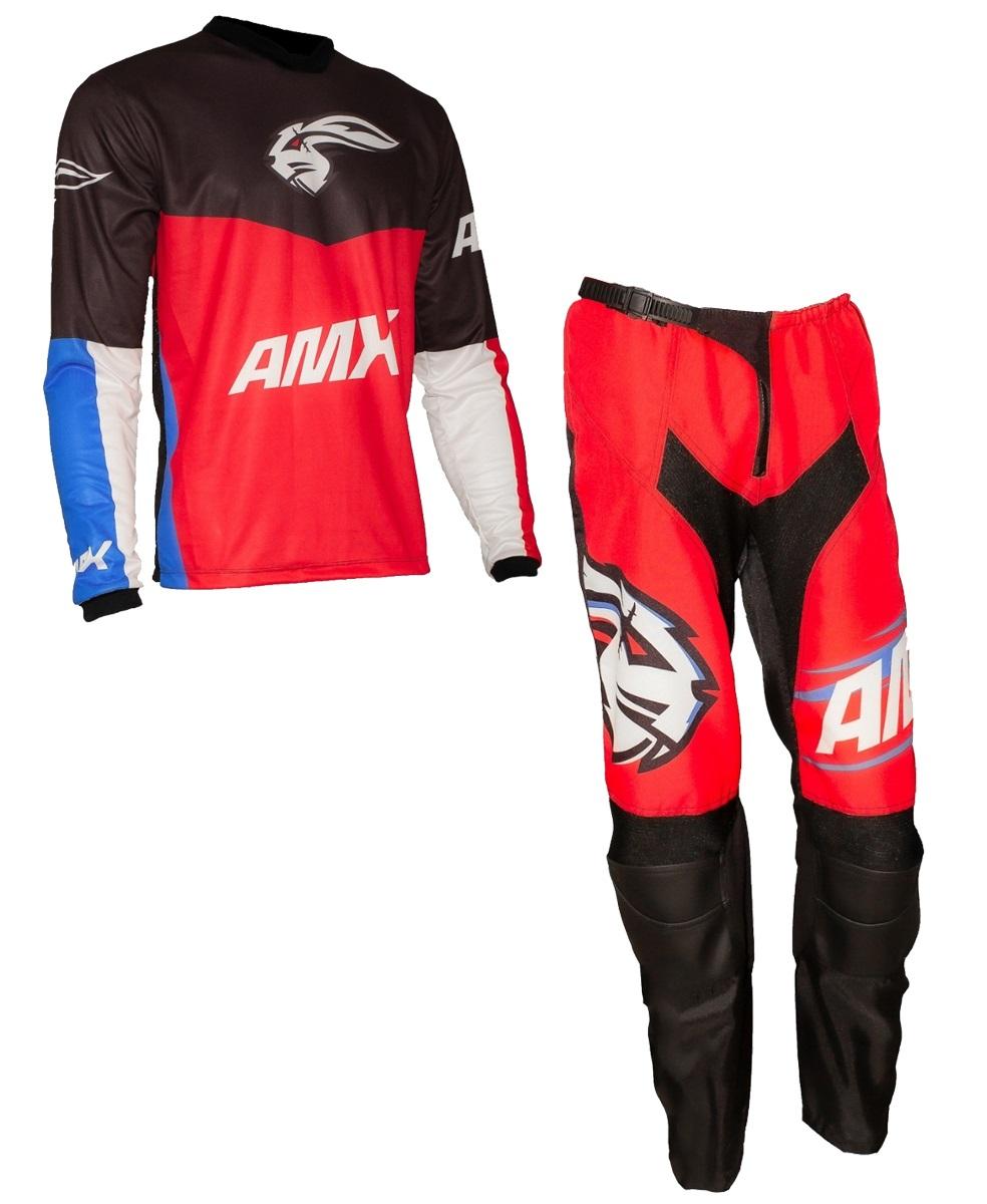 Conjunto Roupa Amx Prime Vermelho Preto Trilha Motocross