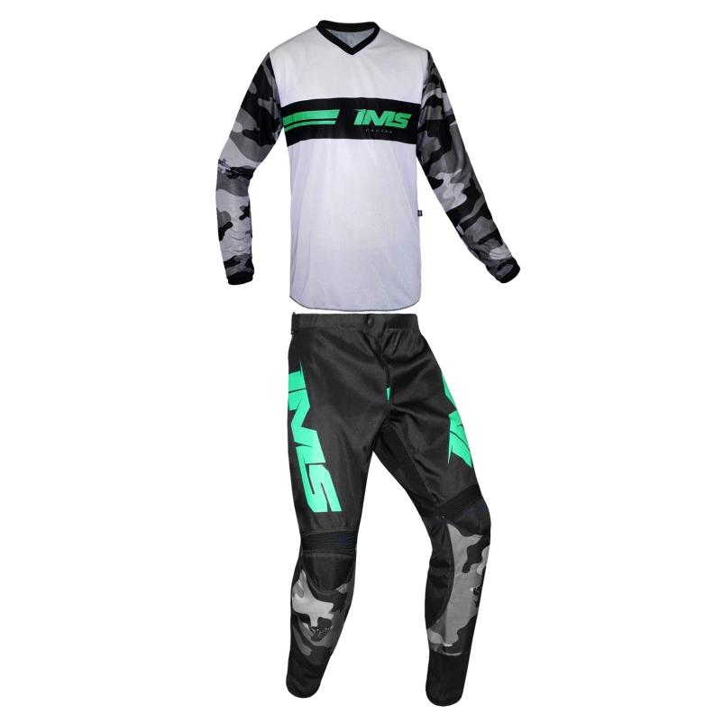 Conjunto Roupa Ims Loretta Camuflada Cinza Trilha Motocross