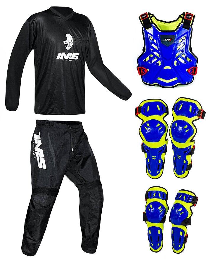 Conjunto Roupa Ims Mx Preto Proteção Amx Azul / Neon