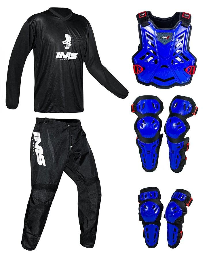Conjunto Roupa Ims Mx Preto Proteção Amx Azul / Preto
