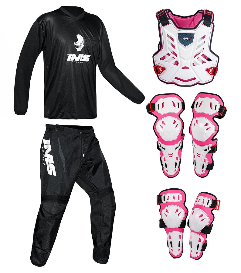 Conjunto Roupa Ims Mx Preto Proteção Amx Branco / Rosa