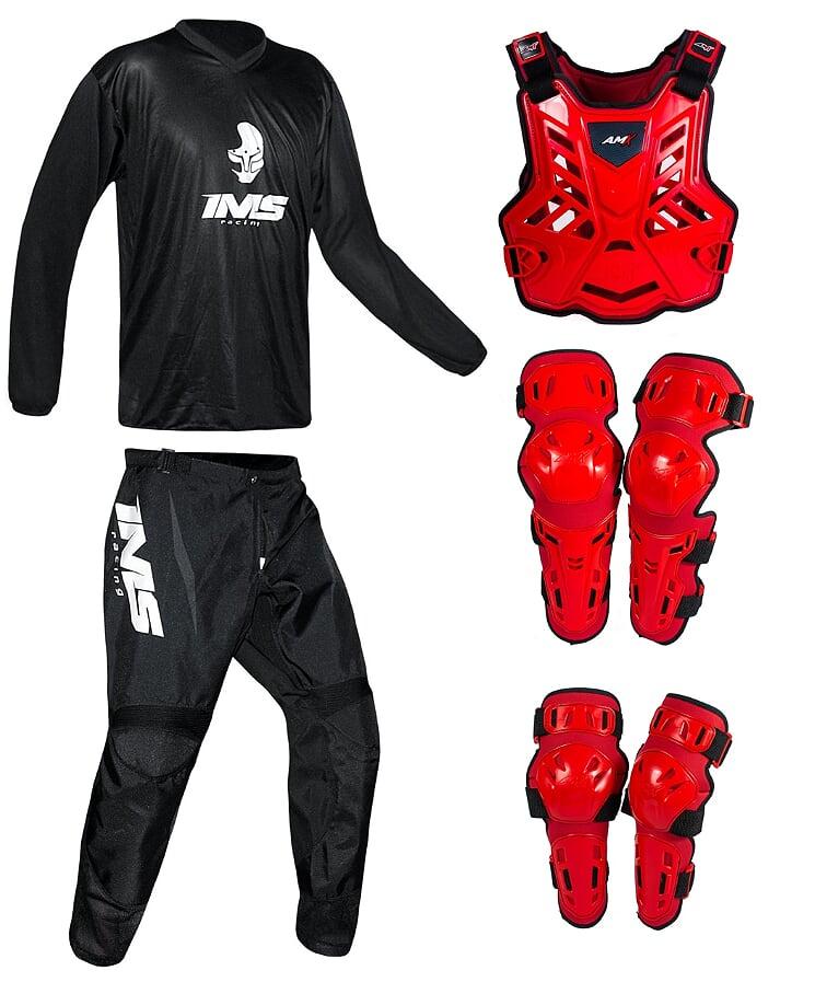 Conjunto Roupa Ims Mx Preto Proteção Amx Vermelho / Vermelho