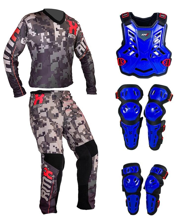Conjunto Roupa Proteção Amx Classic Camuflado Azul / Preto