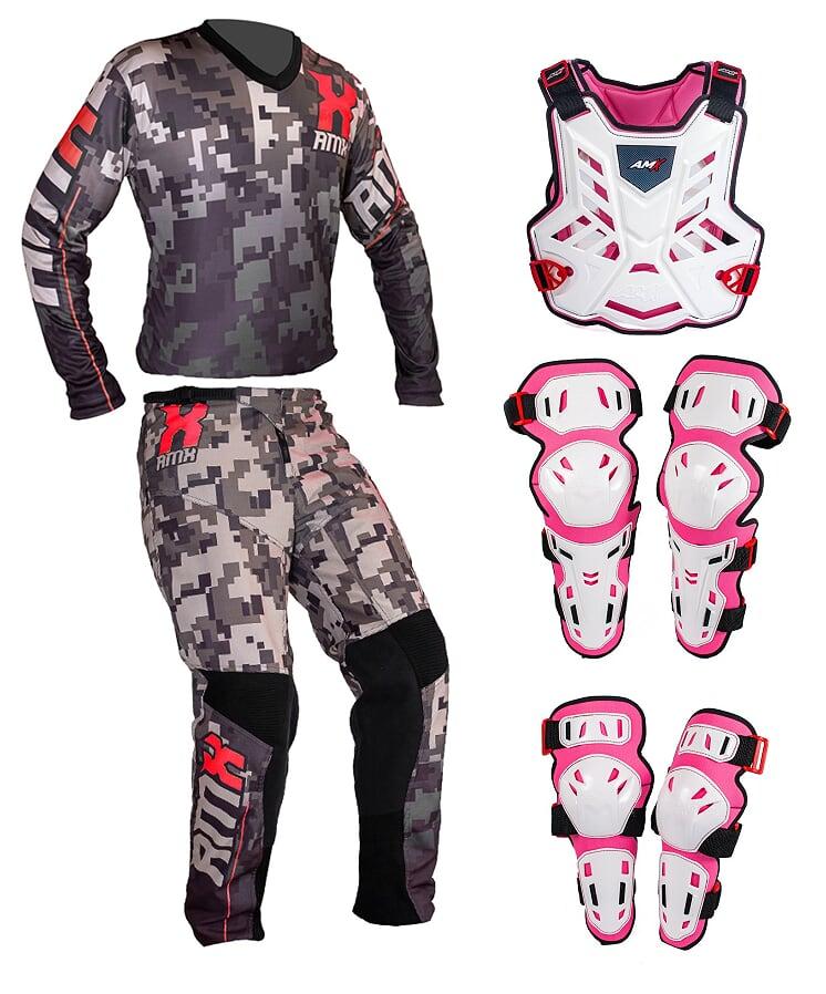 Conjunto Roupa Proteção Amx Classic Camuflado Branco / Rosa