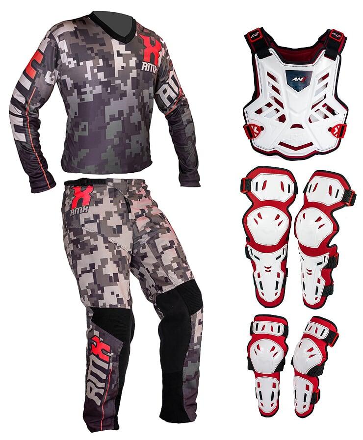 Conjunto Roupa Proteção Amx Classic Camuflado Branco / Vermelho