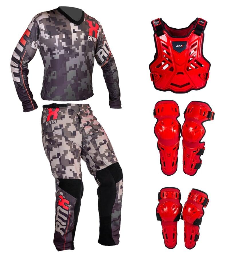 Conjunto Roupa Proteção Amx Classic Camuflado Vermelho / Vermelho