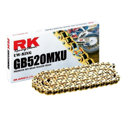 Corrente De Transmissão Rk 520H 120 Elos Dourada Com Retentor