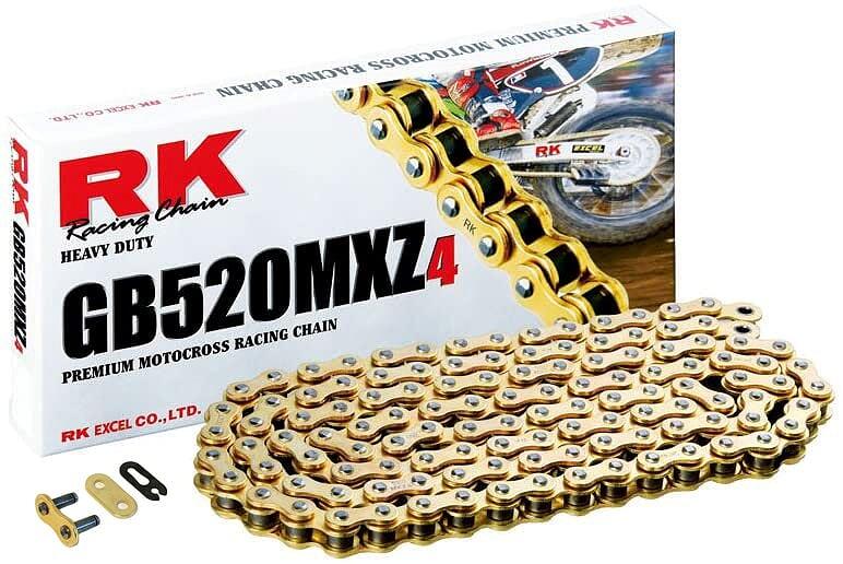 Corrente Rk Gb 520 Mxz4 Off Road Motocross Dourada 120L