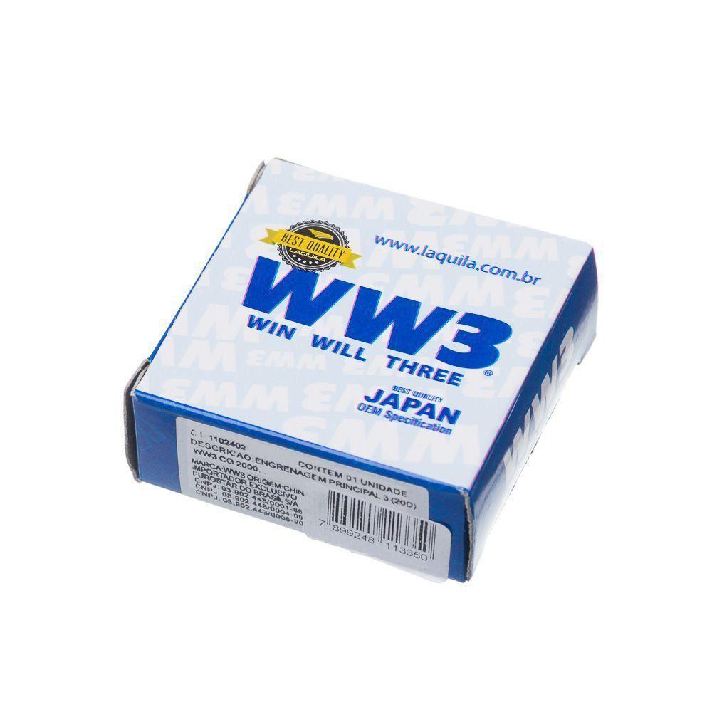 Engrenagem Principal 3 20D Ww3 Cg 125 1983 A 2008 Nxr Bros 125 Turuna 125 Ml 125