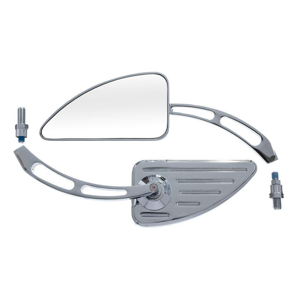 Espelho Retrovisor Custom Cromado Moto X 45 Graus C/Adap Rosca